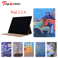 Toparmor cho apple ipad 2/3/4 case không khí in đứng thiết kế pu leather magnetic bìa case cho ipad 4 shell full Prote