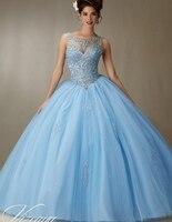 2018 זול Quinceanera שמלות מתוקות 16 נסיכת 15 אור תינוק כחול ורוד שמפניה לבן באינטרנט ארוך גודל כדור שמלת פלוס