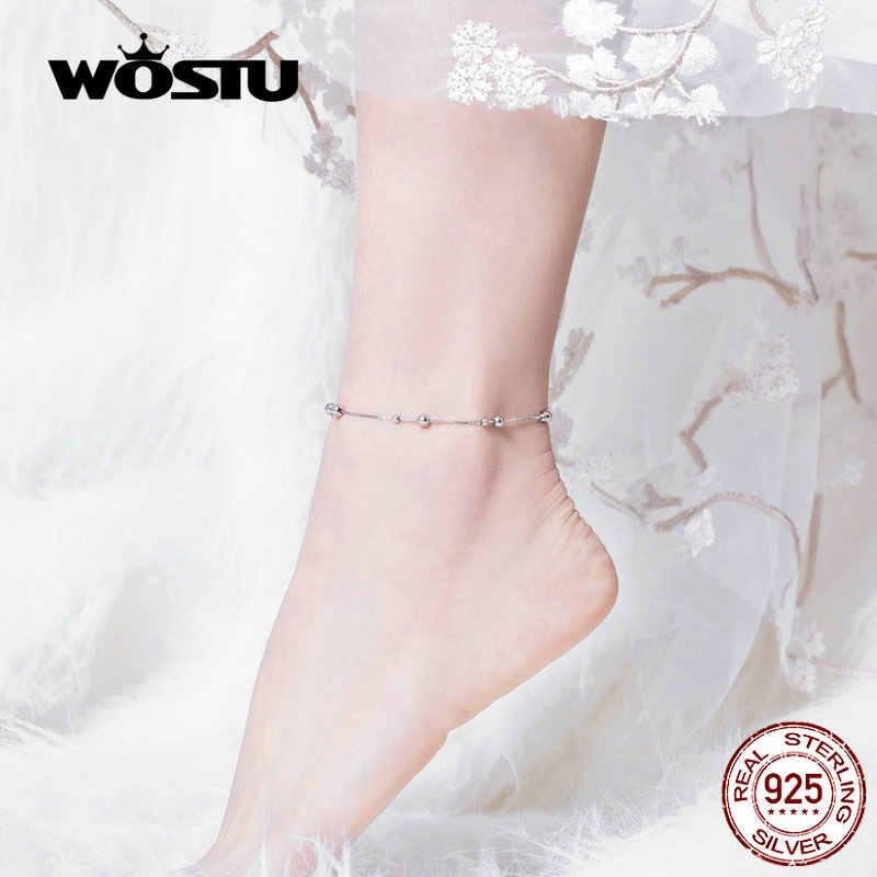 WOSTU חרוזים כדור צמיד שרשרת 100% 925 סטרלינג כסף חרוזים Chian צמיד לנשים רגל רגל שרשרת מינימליסטי תכשיטי CQT005