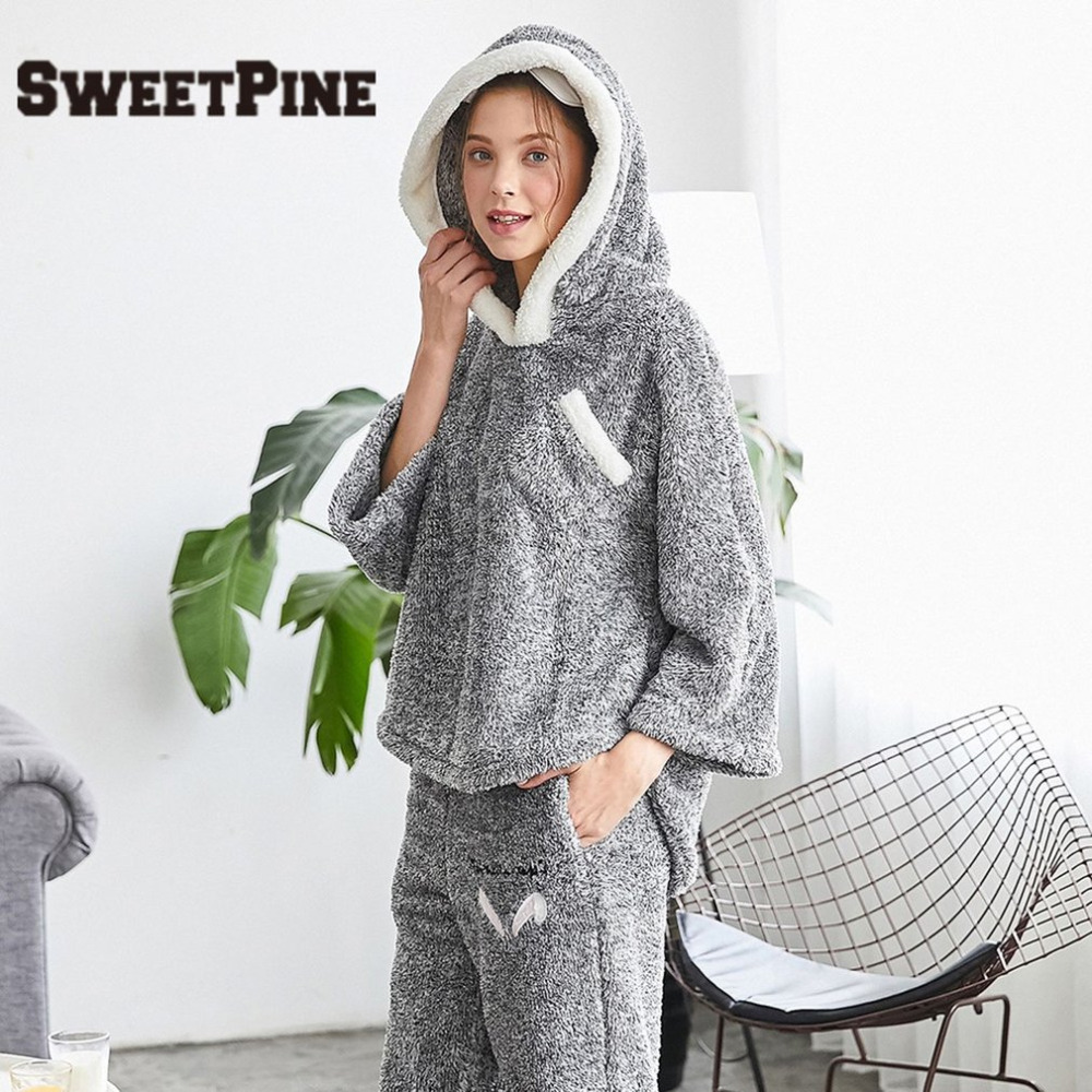 2018 New Top Quality Women Pajama Sets Winter Thicken Flannel Sleepwears 2 pcs/Set Hoodie Tops & Warm Pants Home Clothes