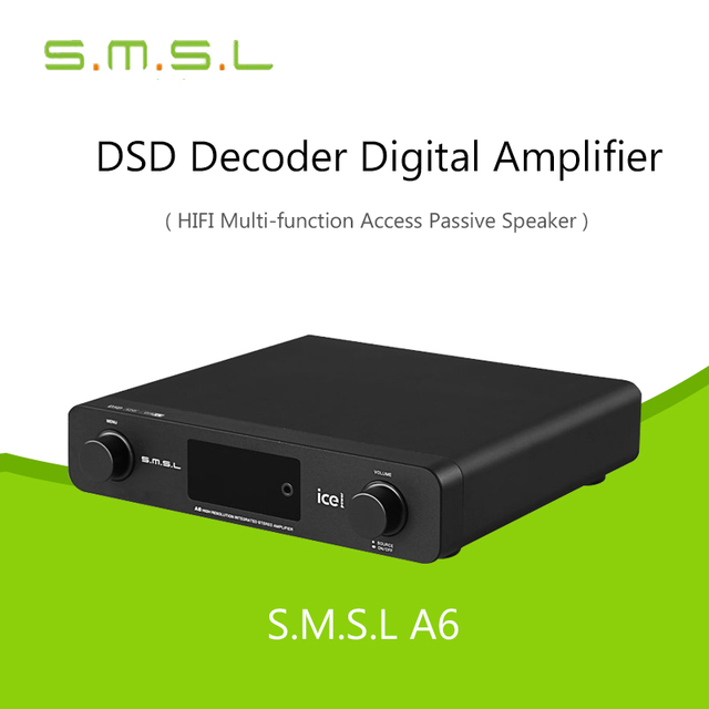 Усилителей ЦАП HiFi Цифровой УСИЛИТЕЛЬ SMSL A6 AK4452 + CM6632A + NJW1194A 50Wx2 DSD512 384 КГЦ/32Bit ОПТИЧЕСКИЙ/коаксиальный/XMOS/USB Audio Decoder