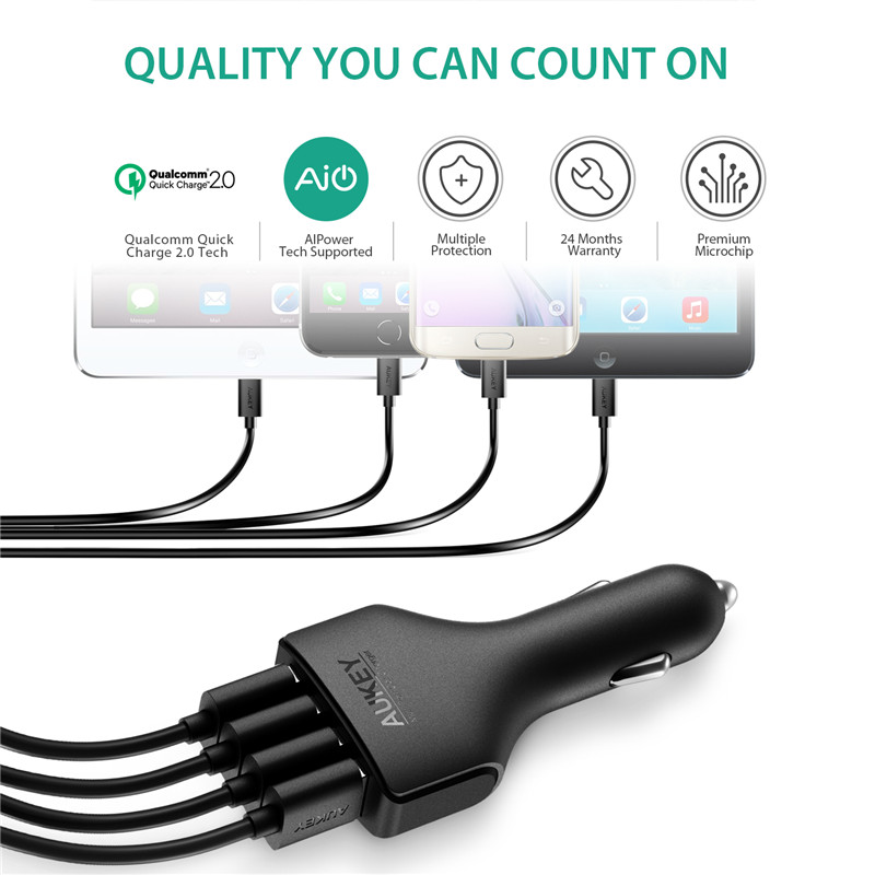 Aliexpress buy aukey 4 ports qc20 usb mini quick charger aliexpress buy aukey 4 ports qc20 usb mini quick charger fast car charger adapter for car for phone ipad samsung htc lg sony tablet with cable from sciox Images