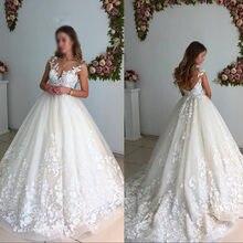 748a59ed9684b Romantik Çiçek Aplike Bir Çizgi gelinlikler Scoop Boyun Seksi Backless  Dantel düğün elbisesi 2019 Lüks Arapça