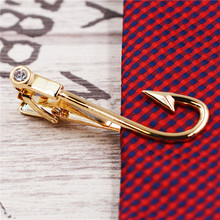 Fish hook tie clips  2colors gold silver Men Jewelry High Quality Wedding Tie Clips for Men Jewelry