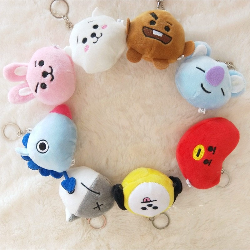 8-10CM 1PC Plush Doll Keychain Bulletproof Youth League Ugly Doll Children Toy Key Buckle Girl Christmas Gift Pendant(China)