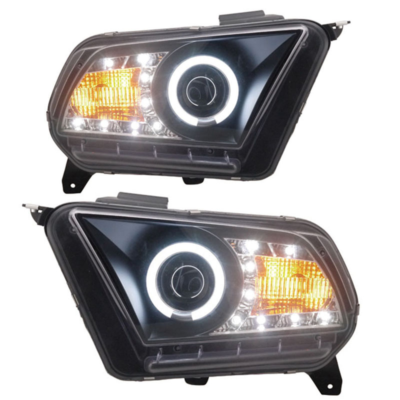 for Ford Mustang Angel Eye Projector Headlights Low beam with bi-xenon lens fit 2010-2012 year cars