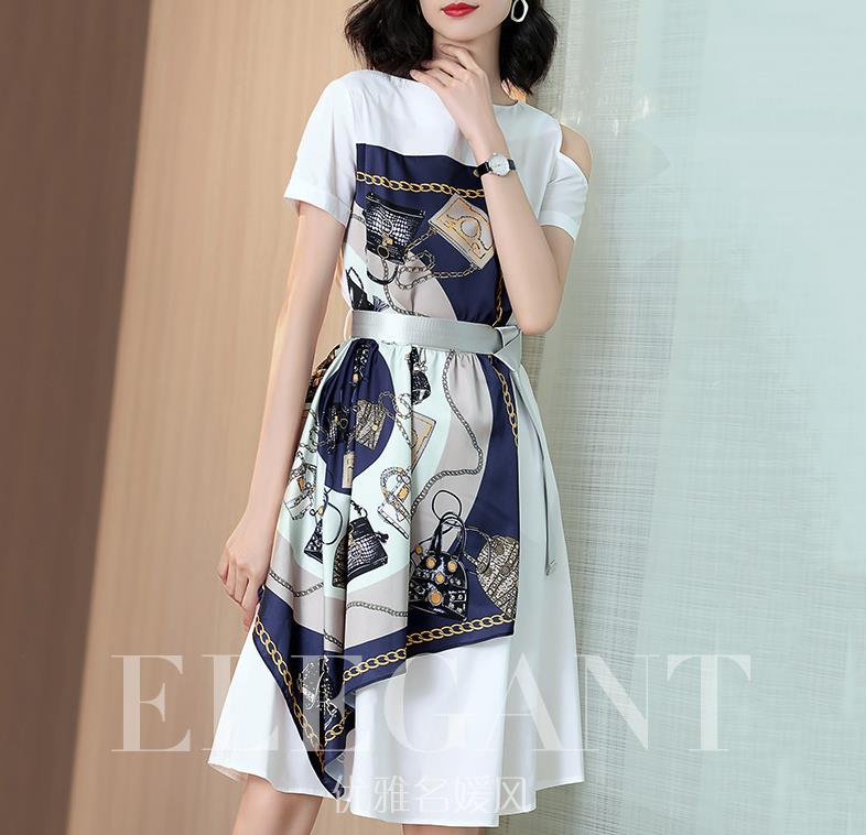 Off-the-shoulder White Dress In The Long 2019 New Summer Waist - Cinching Print Patchwork A-line Skirt