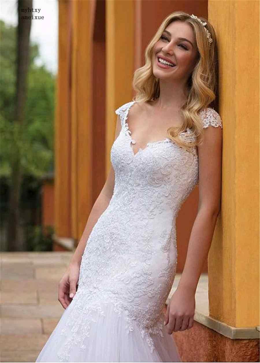 Maravilhoso Tulle Com Decote Em V Decote Sereia Sexy Vestidos de Casamento 2019 Lace Apliques Vestido De Noiva Fino Plus Size Vestido De Noiva