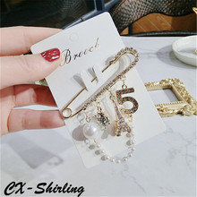 цена на CX-Shirling All Match Antique Crystal Pearl Tower Pendant Brooches Female Crystal Letter 5 Pendant Brooch Pin For Coat Scraf