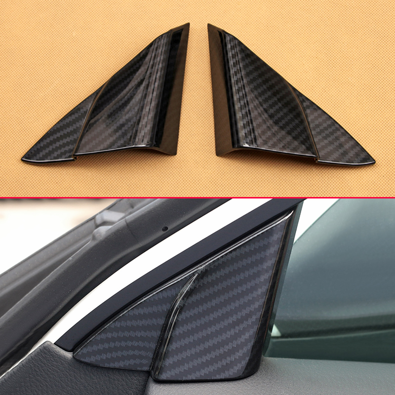 Carbon Fiber Look 2Pcs Set Trims For 2018 Toyota Camry Hybrid Car Door Window A Pillar