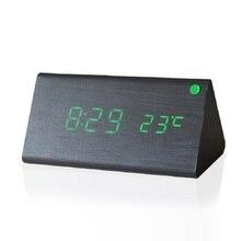 New wooden LED Alarm Clock,despertador Temperature Sounds Control LED display,electronic desktop Digital table clocks,SKU4A4A03