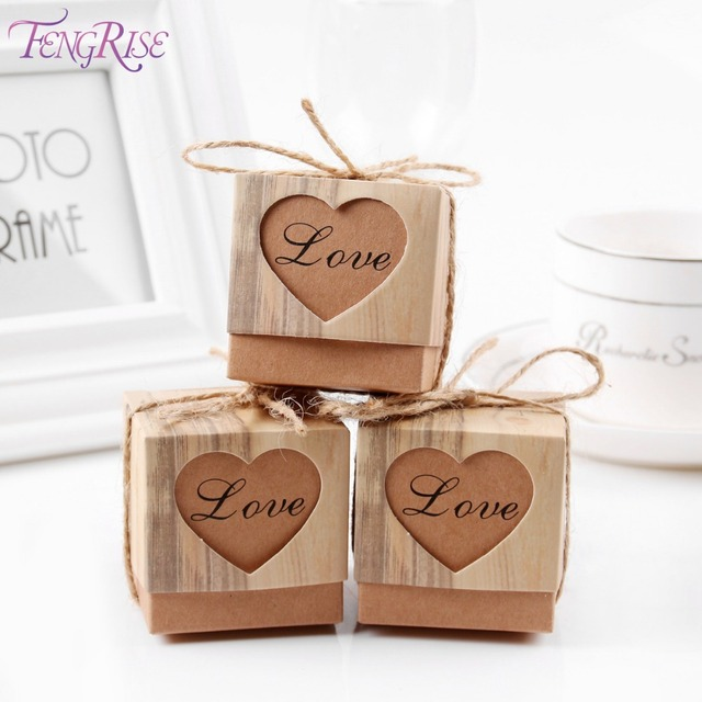 Fengrise 50pcs Heart Candy Box Vintage Wedding Gifts For Guests Kraft Bo With Rustic Burlap Twine