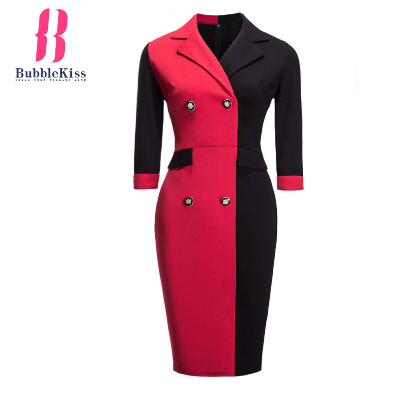 Patchwork Bodycon Dress Color Block Turn Down Collar Work Office Dress Women Autumn Winter Spring Pencil