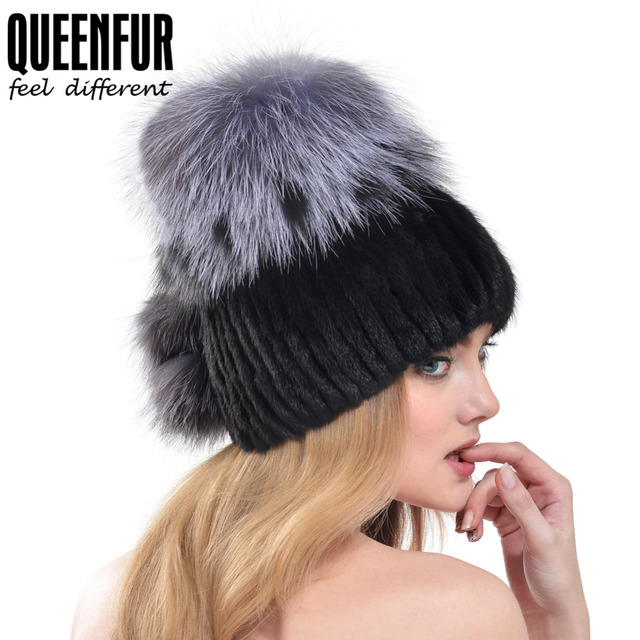 QUEENFUR Super Quality Real Knitted Mink Fur Hat With Real Silver Fox Fur Top Beanies 2016 Winter Russia Style Women Fur Cap