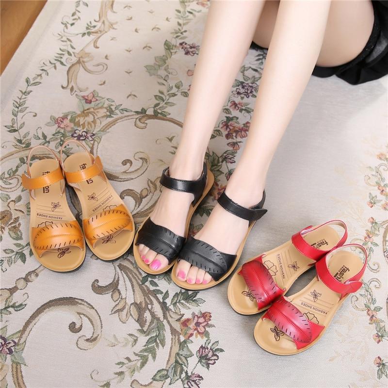 2018 new women sandals genuine leather mother's sandals flat female sandals soft bottom antiskid women sandals plus size 35-41 10