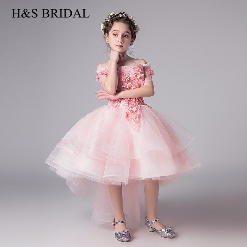 H&S BRIDAL Pink flower girl dresses High low Kids dresses for wedding Ball Gown Girls Pageant Dresses vestidos