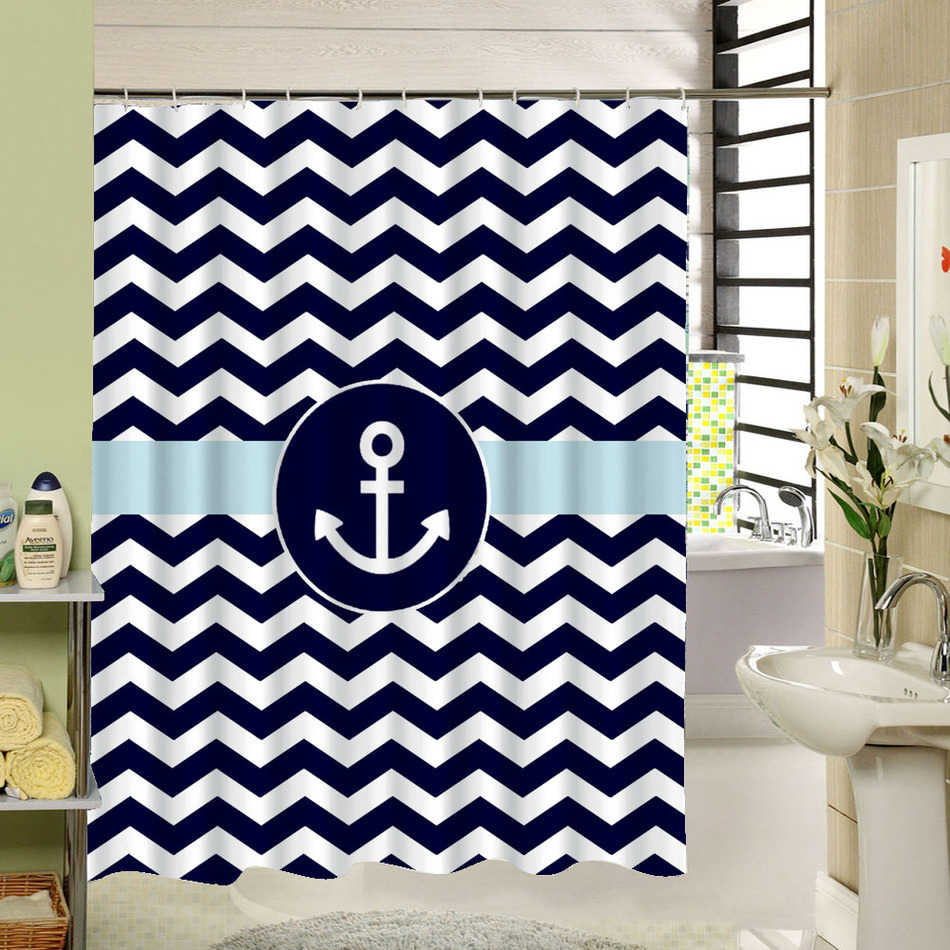 Peva shower curtain nautical design - Custom Stripe Shower Curtain Zigzag Anchor Waterproof Eco Friendly Fabric Bath Curtain With Rings For