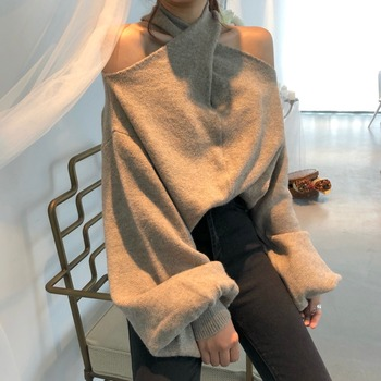 Khaki Criss-Cross Halter Knitted Sweater Off Shoulder Hanging Neck Lantern sleeve Strapless Pullovers Oversized Lady Sweaters criss cross sleeve crop tee