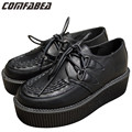 Women Platform Lace Up Shoes Retro Trendy Flat Creepers Goth Punk Rock Street All-match Classical Black Creeper Shoes