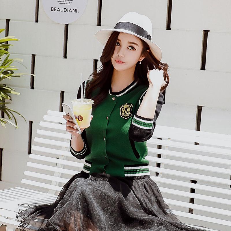 Dabuwawa Spring Knitted Classic Embroidery Sweater Outwear Streetwear Casual Cardigans Baseball Jacket For Women Girls