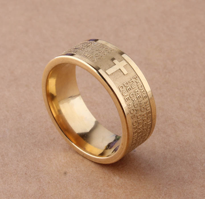 7mm Tone Spanish Golden The Holy Bible Lord's Prayer Cross Ring Stainless Steel Rings Wholesale