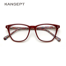 39d42d2bd Mulheres Armação de óculos de acetato Óptica Grau Retro Do Vintage Da Moda  Rebite Transparente Armação