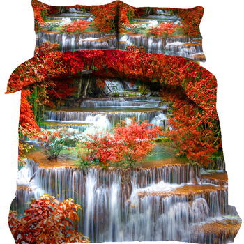 Fall Decor Duvet Cover Set Queen Size Autumn Leaves Growth Wilderness Ecology Calm View Decorative 3/4 Piece Bedding Set