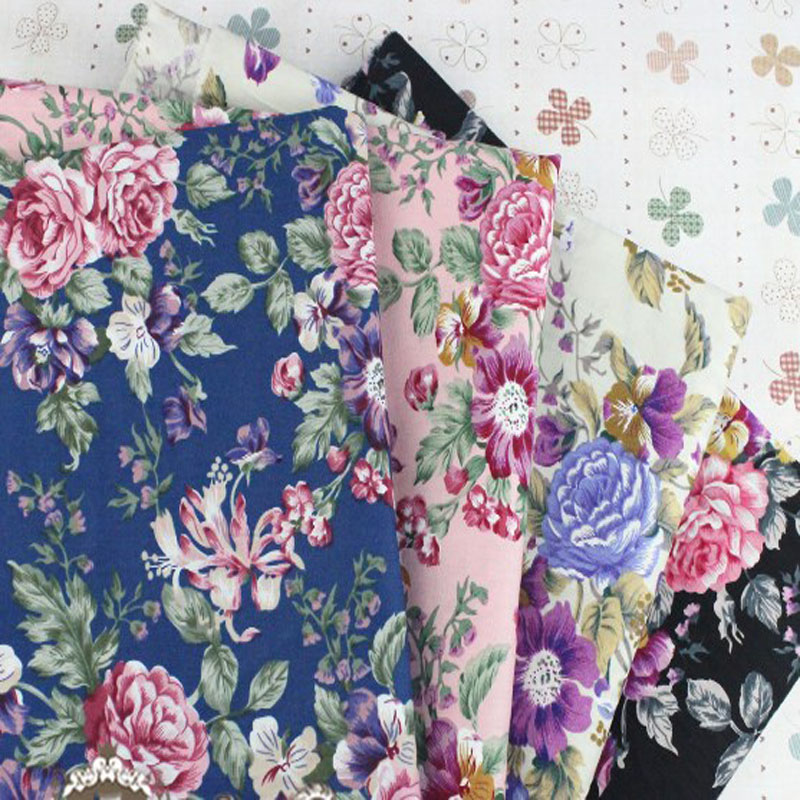 Graceful 50x145cm Pink Black Beige Blue Blooming Peony Flowers Printed Cotton Poplin Fabric Floral Fabric for quilting bedding