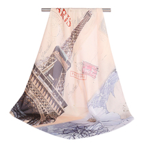 New Print Architecture Silk Scarf Women Square Head Wrap Travel Accessories 70*70cm High Quality Shawl Fashion Hot Sale