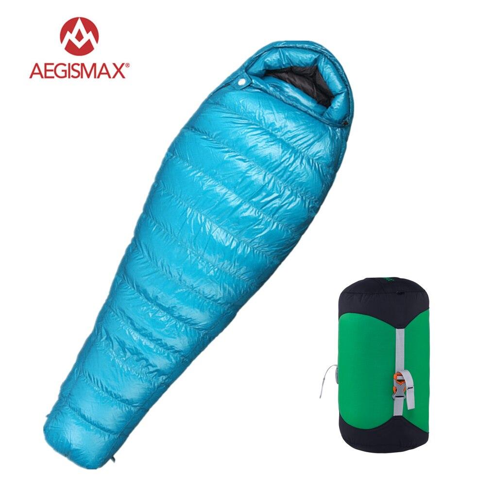Aegismax M3 Ultra-Léger Camping Maman 95% Duvet d'oie Blanche sac de couchage 3 Saison Randonnée