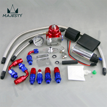 Adjustable Fuel Pressure Regulator&255 LPH Fuel pump Kit Fit For DSM STI GTI EVO blue and red