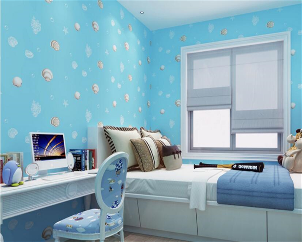 beibehang Lovely children Mediterranean wind shell non-woven 3d wallpaper Boy Girl Bedroom wallpaper papel de parede wall paper beibehang new children room wallpaper cartoon non woven striped wallpaper basketball football boy bedroom background wall paper