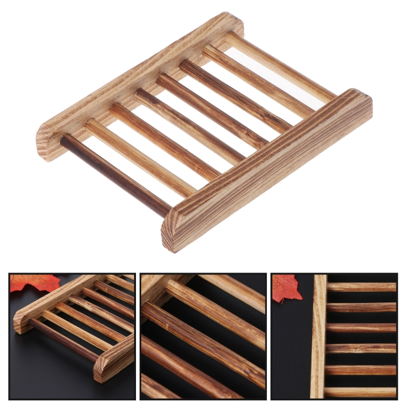 Wooden Handmade Bathroom Anti-Skid Soap Dish Sink Drain Holder Sundries Rack