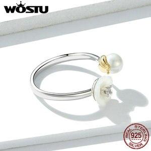 Image 4 - WOSTU 2019 nuevo Plata de Ley 925 100% auténtica anillos de perlas y flores blancas flores florecientes transparentes CZ anillos ajustables CTR063