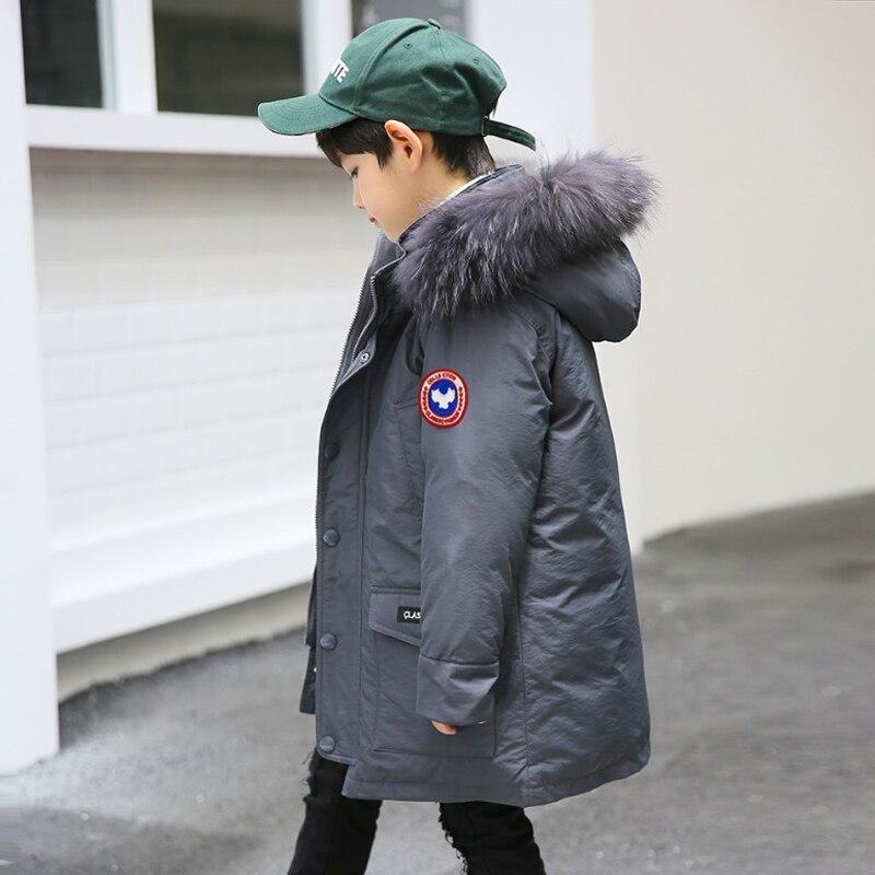 Детские парки 2018 Весенний пиджак для мальчиков утепленные натуральной меха с капюшоном пальто для мальчиков-подростков 10 12 14 16 лет теплая д...