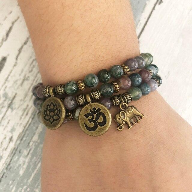 64793bbf0777b4 6MM India Agates Unakite Stone Beaded OM Stacking Lotus Elephant bracelet  Set of 3 Mala Bracelets Yoga Beads Reiki Bracelet
