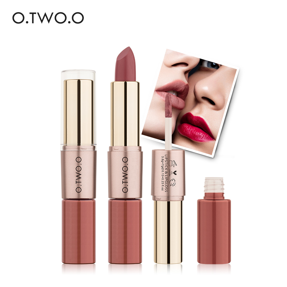 O.TWO.O 12 warna Matte Lipstik cair Makeup Velvet Lipstik dan Matte Lip gloss 2 in 1