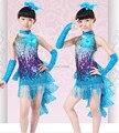 Nuevo 2015 Franja De Lentejuelas Vestidos De Baile Latino América Niño Traje De Baile Latino Rendimiento Trajes de Baile