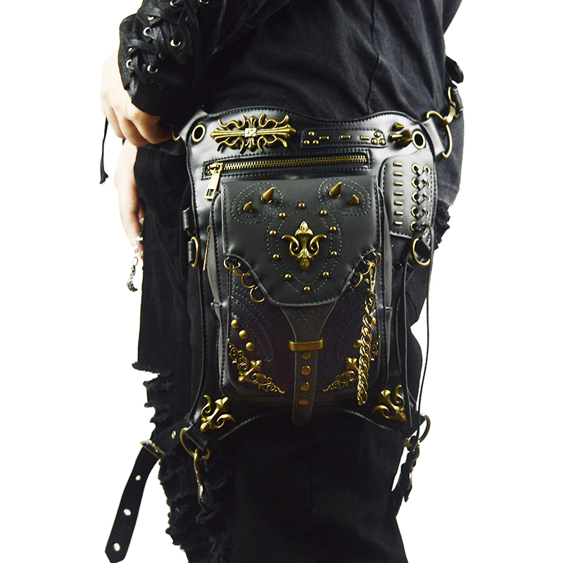 Gothic Leather Waist Bags Steampunk Rock Motorcycle Fanny Pack Men Women Drop Leg Bag Rivet Messenger Crossbody Shoulder Bag цены