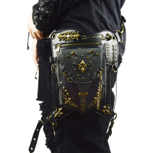 Gothic Leather Waist Bags Steampunk Rock Motorcycle Fanny Pack Men Women Drop Leg Bag Rivet Messenger Crossbody Shoulder Bag