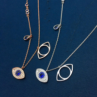 T S Family Eye All Match Demon Necklace 925 Sterling Silver Micro Blue Crystal Blind Female