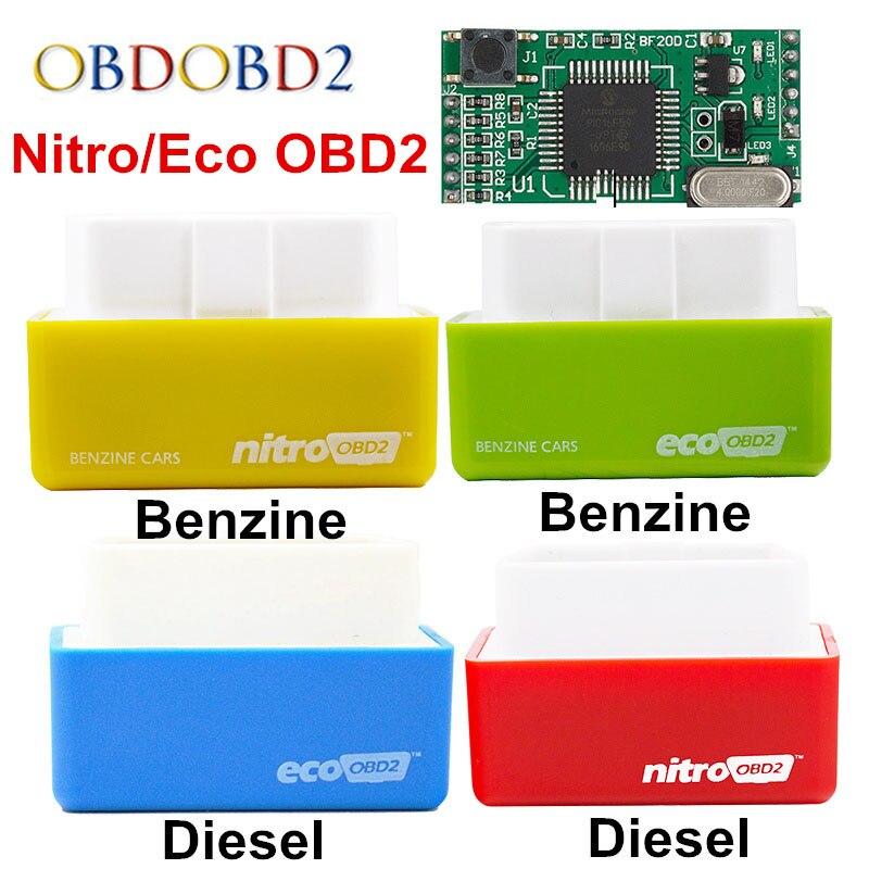 4 Colors Nitro OBD2 EcoOBD2 ECU Chip Tuning Box Plug & Driver NitroOBD2 Eco OBD2 For Benzine Diesel Car 15% Fuel Save More Power