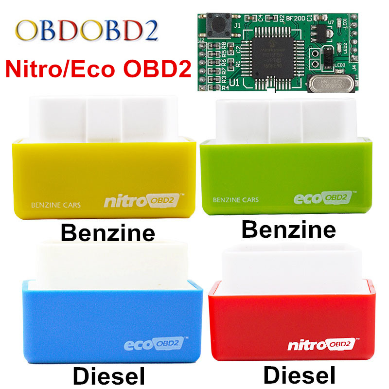 4 Colors Nitro OBD2 EcoOBD2 ECU Chip Tuning Box Plug & Driver NitroOBD2 Eco OBD2 For Benzine Diesel Car 15% Fuel Save More Power