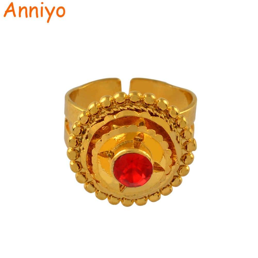Anniyo 4 צבעים האתיופית טבעת עבור נשים Eretrian משלוח גודל טבעות תכשיטי ילדה אפריקאי מתנה Habesha #058206