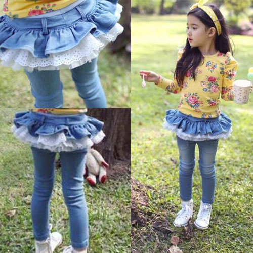 d69ec57bc Baby Girls Pants Children Spring Autumn Lace Leggings Kids Jeans Pants  Trousers Casual Girls Cotton Tutu