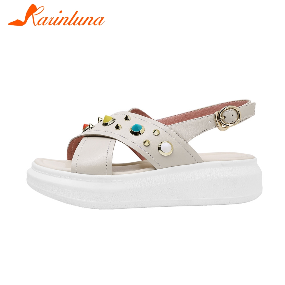 KARINLUNA New Fashion INS Hot womens Genuine Leather Shoes Rivet Buckle Ladies Women Shoes Woman Casual Summer SandalsKARINLUNA New Fashion INS Hot womens Genuine Leather Shoes Rivet Buckle Ladies Women Shoes Woman Casual Summer Sandals
