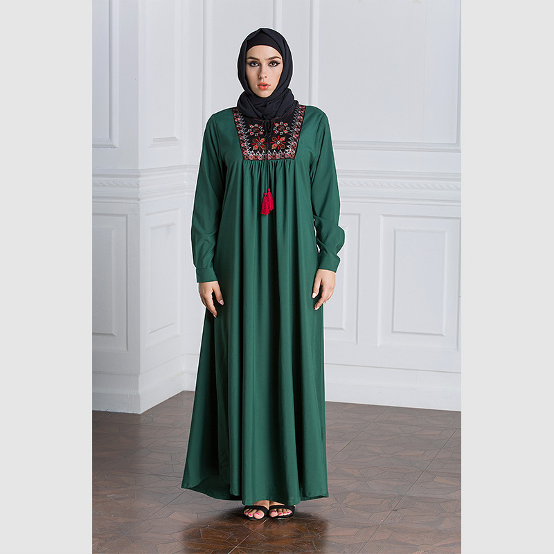 Muslim Dress Women Long Sleeve Embroidery Patchwork Abaya Loose Pakistan Free Plus Size Ethnic Arab Robe Islamic Clothing (7)