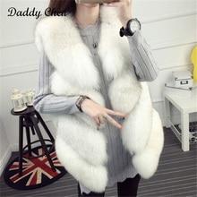 Фотография High Quality Winter Faux fur coats for women Thick Warm Faux Fox Fur Vest Fashion O-Neck Short female natural sleeveless Outwear