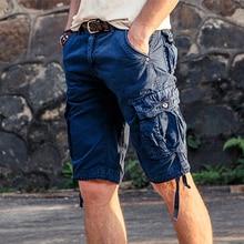 New Men's Casual Cargo Shorts Loose Short Pants Multi-pocket Military Style Camo Knee Length Plus Size 5 Colors Shorts Men 2018 цена в Москве и Питере