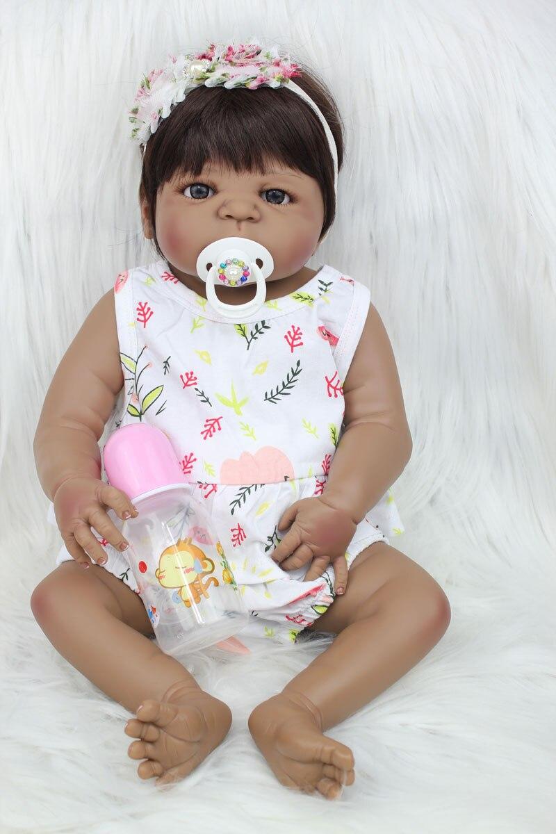 55cm de corpo inteiro silicone reborn bebe boneca menina 22 pele preta menina recem nascido princesa